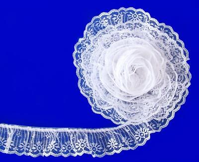 (WHITE~2 Inch Wide Ruffled Candlewick Lace Trim~By 5 Yards)