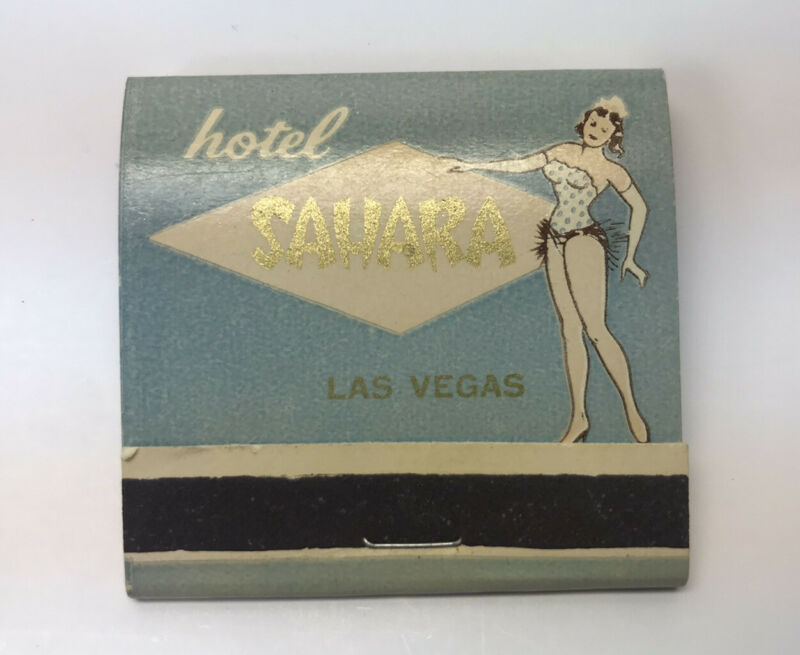 Vintage Hotel Sahara Las Vegas Feature Matchbook Showgirl Dancer Unstruck Gold