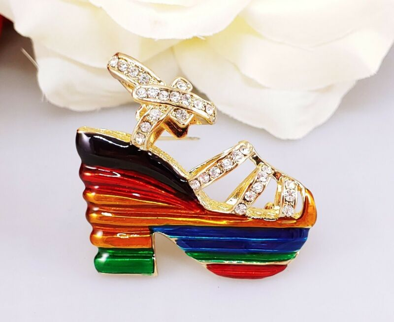 Vintage Rainbow Disco 70 80s style high heel platform shoe brooch pin rhinestone
