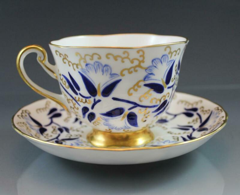 Royal Chelsea English Bone China Teacup & Saucer 685A Cobalt Flowers Gold Vines