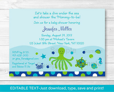Under the Sea Nautical Calypso Printable Baby Shower Invitation EDITABLE - Under The Sea Baby Shower Invites