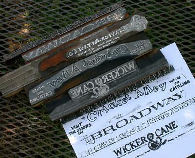 Vintage 6 Letterpress Printing Advertising Blocks Metal On Wood Ad Ink Stamps