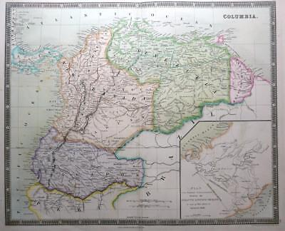 COLUMBIA VENEZUELA EQUADOR DOWER TEESDALE  GENUINE MAP ORIGINAL HAND COLOUR 1844