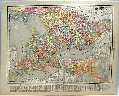 ONTARIO & MANITOBA CANADA  ATLAS MAP PAGE 1916 WWII VINTAGE RAND MCNALLY