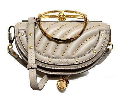 New $2K Chloe Nile Grey Studs Leather Half Moon Minauderie Clutch Crossbody Bag