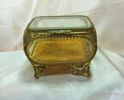 Vintage Gold Gilt Brass Filigree Jewelry Trinket Box Beveled Glass