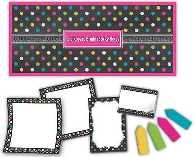 TCR 5833 Chalkboard Brights Sticky Notes Set Assorted Sizes NEW Teacher Resource