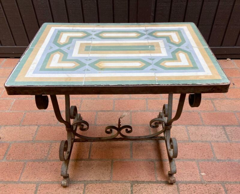 Antique Old Rare Encaustic Tile Top Table Wrought Iron Ceramic Art Mystery Maker