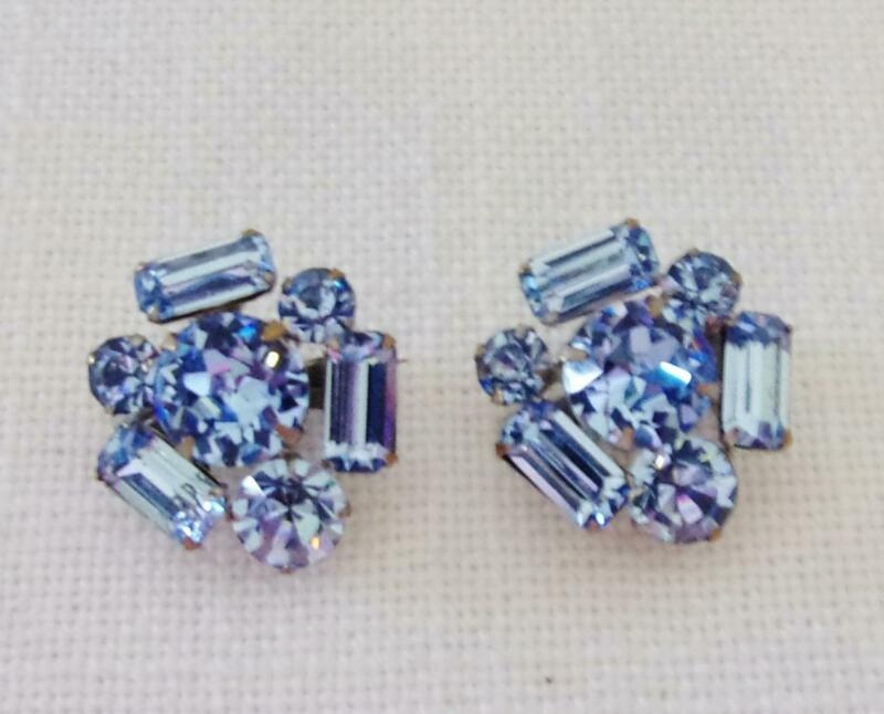 Two (2) Vintage Silver Tone w Light Blue Rhinestone Scatter Pins