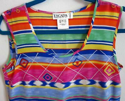 Vintage Escada Margaretha Ley 1980 Abstract Silk Pop Art Tank Pullover Top Sz 34