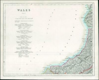 1842 Engraved Map of WALES (West) by Fisher (FM2/34)