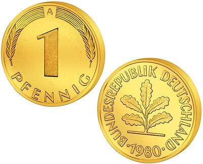1 Pfennig - Glückspfennig - Goldmünze - Geburtstag / Geschenk / DM / Mark