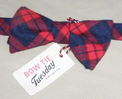 NEW BOW TIE TUESDAY Pre Tied Adjustable Red Blue Plaid Flannel Holiday Holiday Plaid Bow Tie