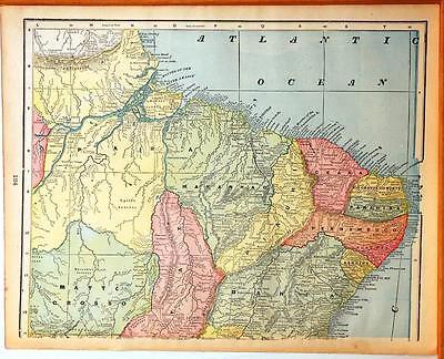Beautiful Original 1899 Brazil Large Color Map/14x20 2 page