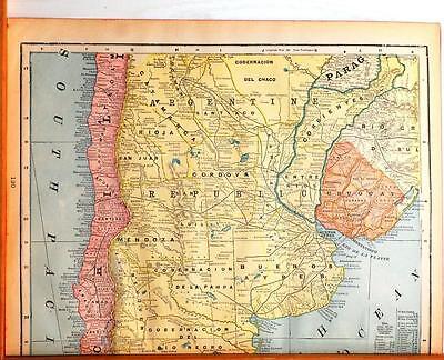 Beautiful Original 1899 Argentina & Uruguay  Large Color Map/14x22