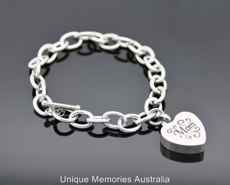 316L Link Chain Mom Heart Cinerary Memorial Keepsake Funeral Urn Bracelet NIB