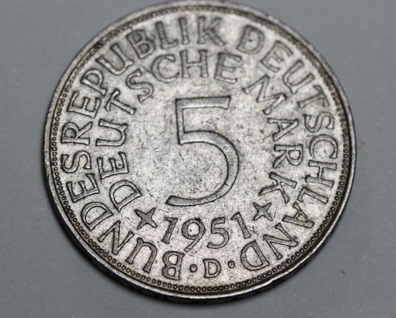 1951-D West German Munich 5 Mark Silver Coin Very Nice XF Condition KM# 112.1