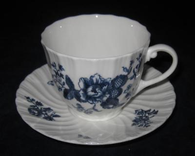 Royal Blue Swirl (Royal Worcester BLUE SPRAYS, Swirl Rim, Cup & Saucer Set)