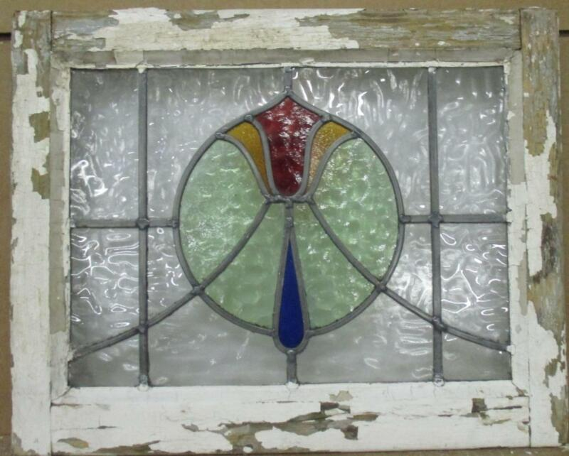 """OLD ENGLISH LEADED STAINED GLASS WINDOW Very Pretty Tulip & Sweep 21"""" x 17"""""""