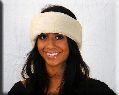 White Sheared Mink Fur Headband One Size Fits All-efurs4less