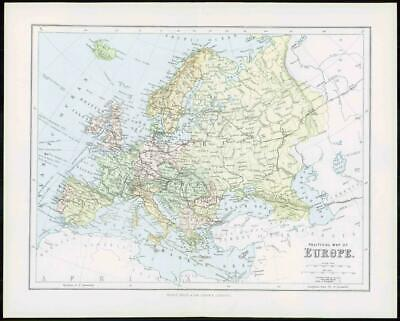 1903 Original Antique Colour Map - EUROPE Political Map (6)