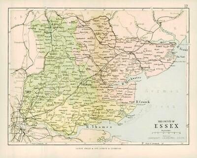 c1883 COUNTY OF ESSEX MAP By George Philip (PC11)