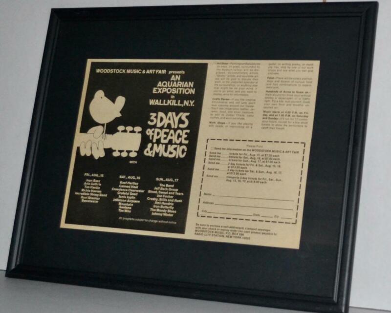 WOODSTOCK 1969 ORIGINAL CONCERT FRAMED AD JIMI HENDRIX THE WHO JANIS JOPLIN