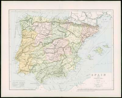 1903 Original Antique Colour Map - SPAIN PORTUGAL Balearic Islands  (14)