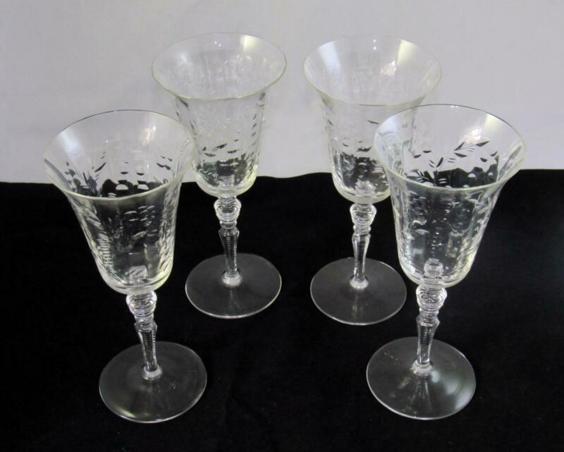 "4 ELEGANT VTG ETCHED FINE CRYSTAL WINE GLASSES 7 ¾"" STEMWARE"