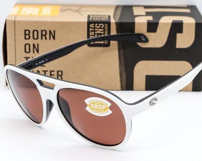 Neu Costa Del Mar Seapoint Sonnenbrille Weißer Rahmen/Kupfer 580P Polarisiert