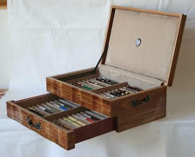 FOUNTAIN PEN CHEST, #580, VINTAGE, HAND-CRAFTED, HOLDS 44 PENS, SOLID WOOD, USA