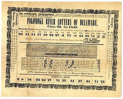 Pokomoke River Delaware 1845 Mailed Lottery Drawing Results Broadside Providence