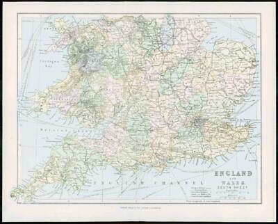 1903 Original Antique Colour Map - ENGLAND WALES South Sheet (9)