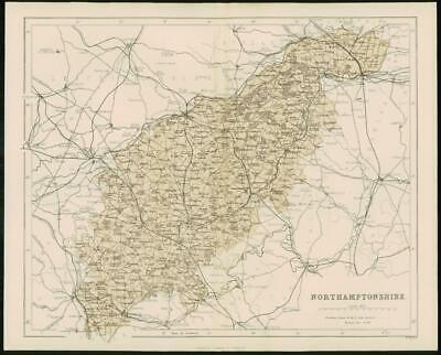 1868 - Original Colour Antique Map of NORTHAMPTONSHIRE by W Hughes (FC34)