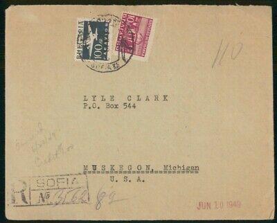 MayfairStamps Bulgaria 1949 Sofia Registered to Muskegon Michigan Cover wwo48911