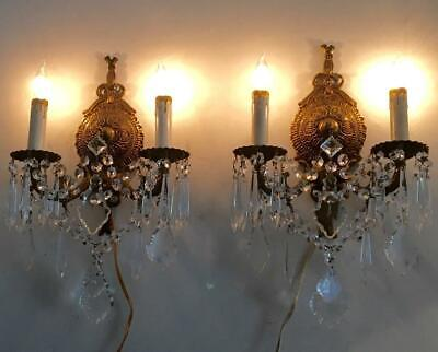 """PAIR of 35/"""" cut Glass Prism strand Lamp Chandelier sconce Part brass vintage"""