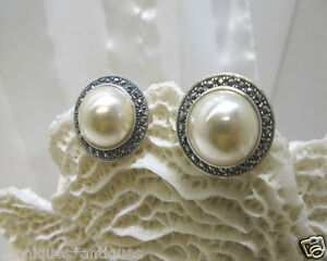 Faux-White-Pearl-Marcasite-Clip-on-Sterling-Earrings