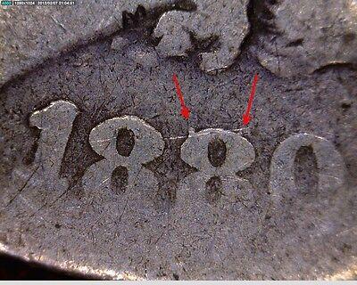 TOP 100 LOWBALL 1880 VAM 6 8/7 SPIKES MORGAN SILVER DOLLAR U.S. COIN 1880