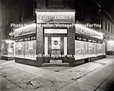 Old Antique Vintage Elite Laundry Dry Cleaning Laundromat Night Photo Picture