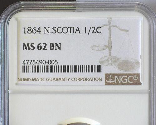 NOVA SCOTIA QUEEN VICTORIA 1864 HALF CENT NGC MS62 BN