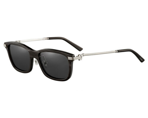CARTIER Rectangular Buffalo Horn 54MM Metal Unisex Eyeglasses CT0051S 001