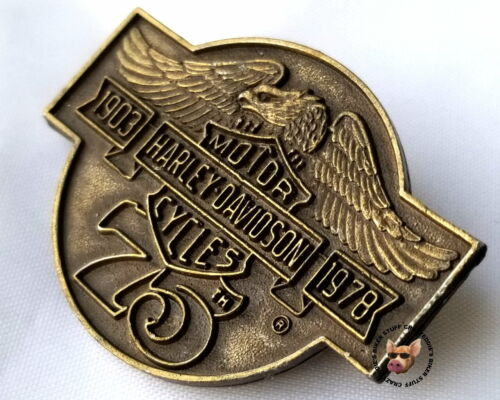 Harley Davidson® Motorcycles  75th Anniversary Pewter Vest Pin Vintage