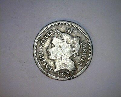 1870 THREE CENT NICKEL   21 72
