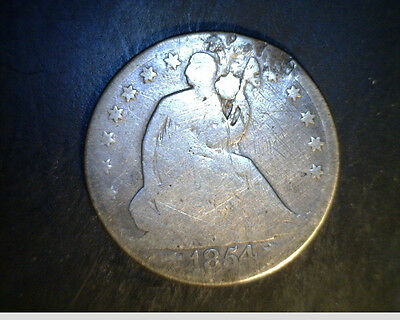 1854 US SEATED LIBERTY HALF AVERAGE CIR. .3599 OZ SILVER US 4224