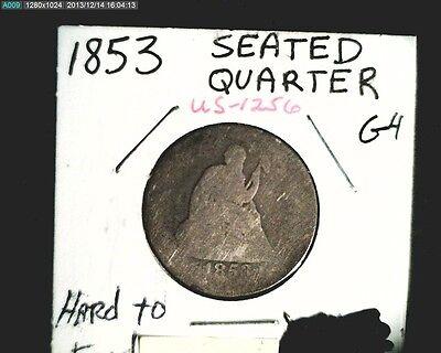 1853 US SEATED LIBERTY  AVERAGE CIR GRADE .18084 OZ SILVER COIN US 1256