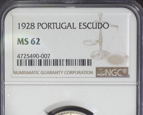 PORTUGAL 1928 1 ESCUDO (KM#578) NGC MS 62