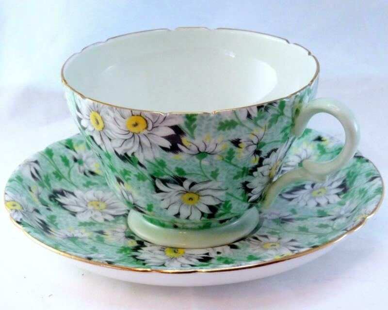 "Vintage Shelley Green ""Daisy"" Chintz Henley Shaped Tea Cup and Saucer #13650/53"