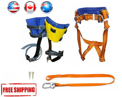 Tree Climbing Spike Set Safety Belt With Straps Adjustable Lanyard Carabiner