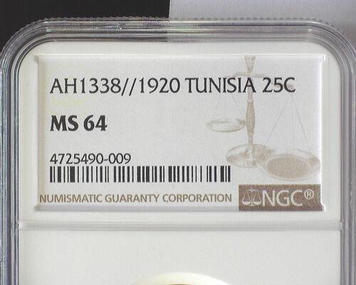 TUNISIA AH1338/1920(a) 25 CENTIMES (KM#244) NGC MS 64