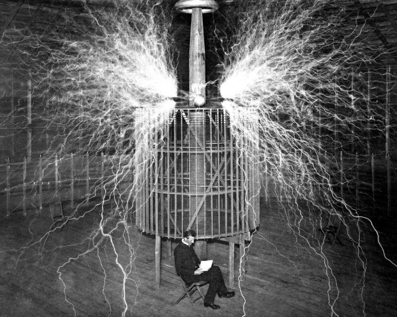 New 11x14 Photo: Nikola Tesla Reading in Laboratory, Electricity Double-Exposure